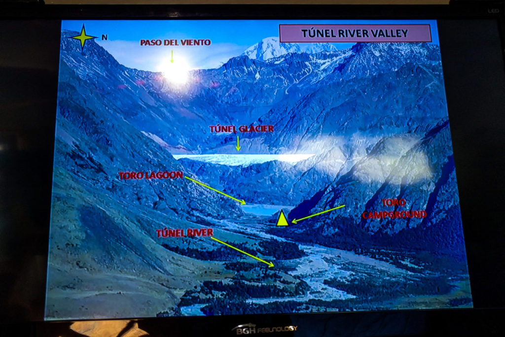 Slideshow at the visitor's center showing slides of the Huemul Circuit Trek