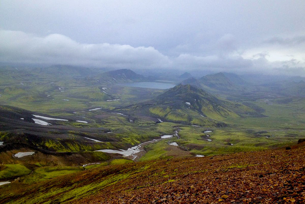 Dark, onimous clouds and rain over Lake Alftavatn on the Laugavegurinn Trek in Iceland