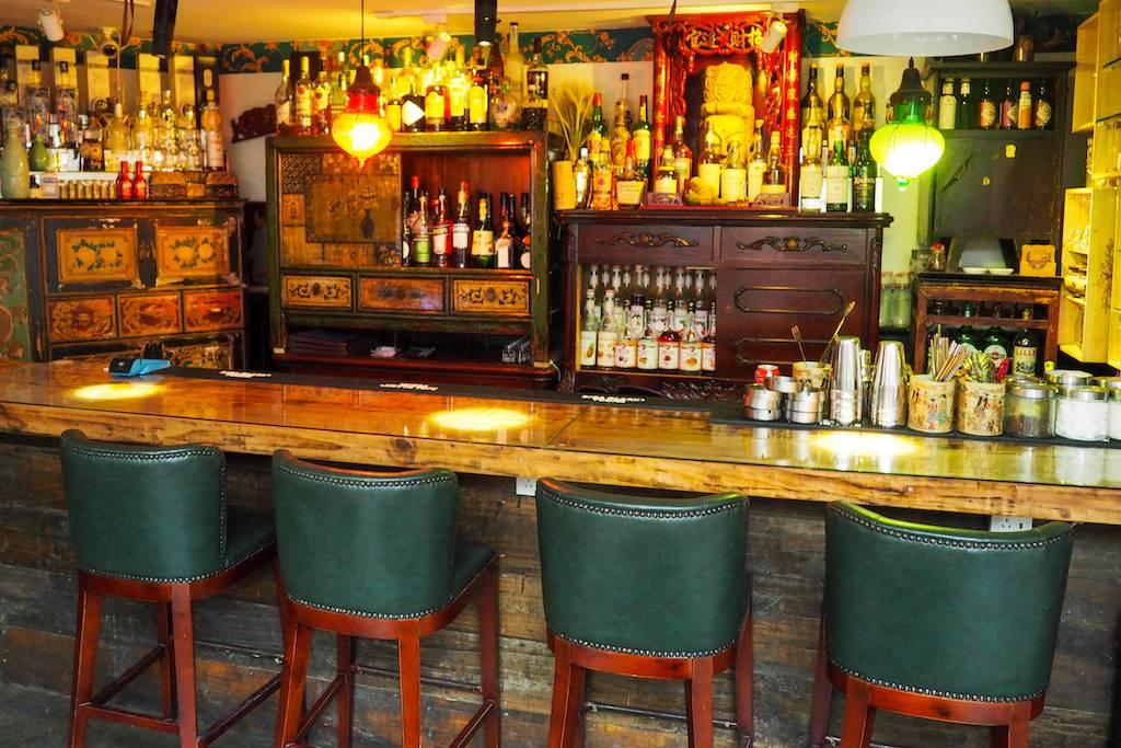 Anitque wooden bar inside Mix Hostel Chengdu