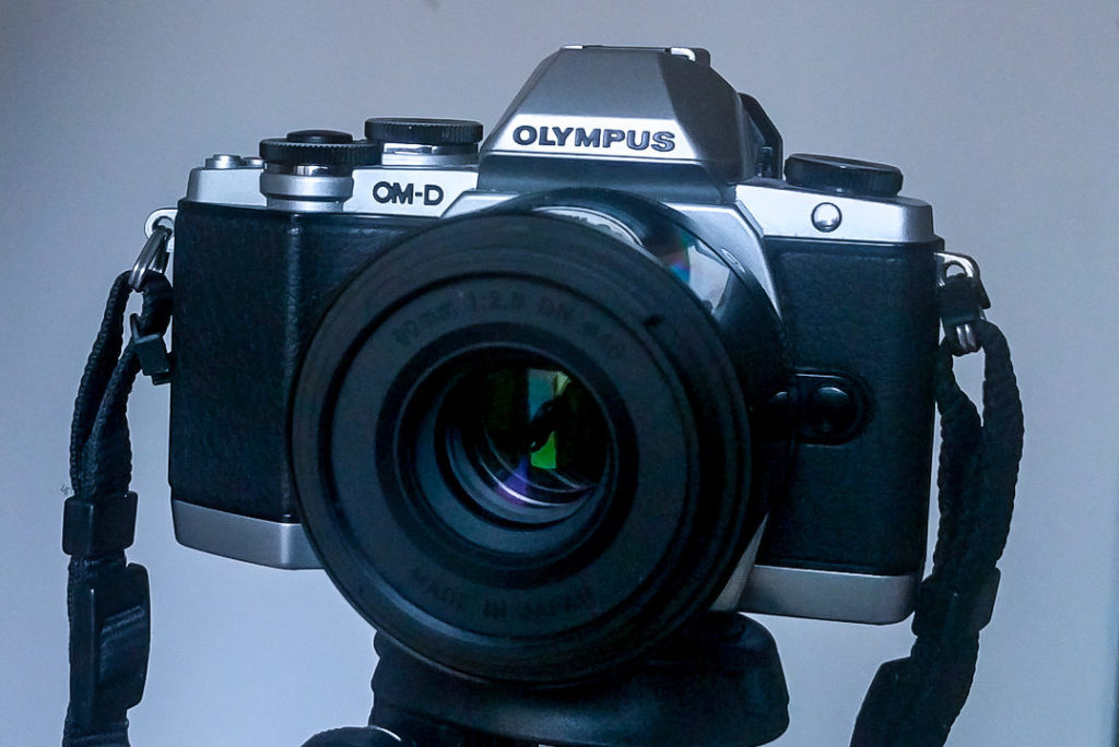 Closeup of an Olympus OM-D E-M10 lightweight camera