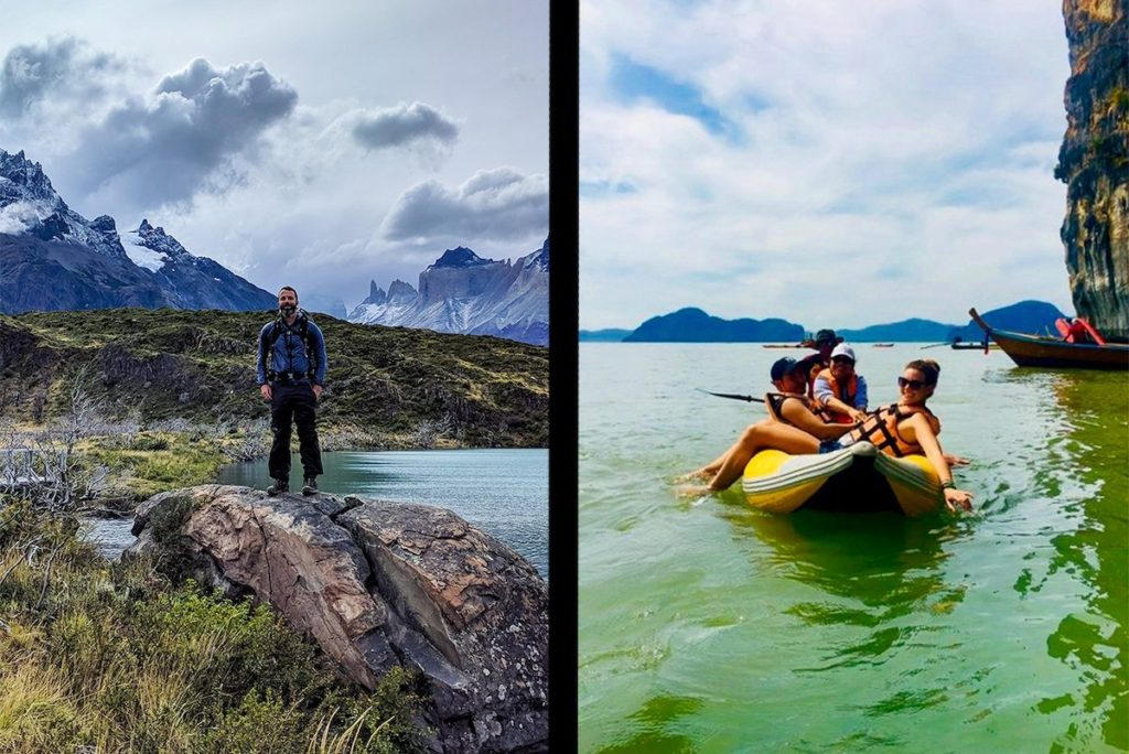 Solo traveling couple split-screen. Man hiking Torres del Paine. Woman in Kayak in Thailand.