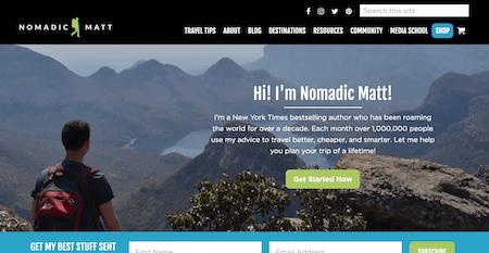 Nomadic Matt: Top Ten Best Travel Blog