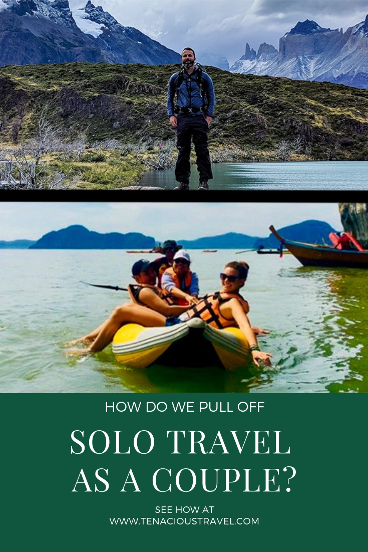 Pinterest banner with splitscreen couple. Man hiking in Chile and woman kayaking in Thailand