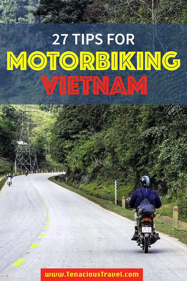 A man riding a motorbike on a curving roadway with a green jungle backdrop with text overlay